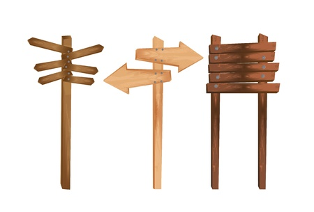 three wooden indication isolated over white background.