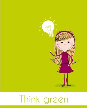 linda chica con bombilla eléctrica sobre fondo verde.