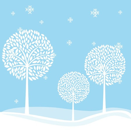 paysage: cute witer landscape with tree and snowflakes. illustration Illustration