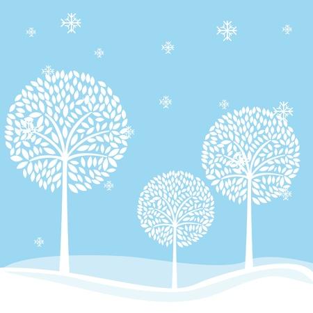 Paysage witer mignon avec des arbres et des flocons de neige. illustration Banque d'images - 12337580