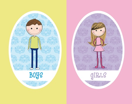 toilet sign: girls and boys circle sign restroom. illustration Illustration