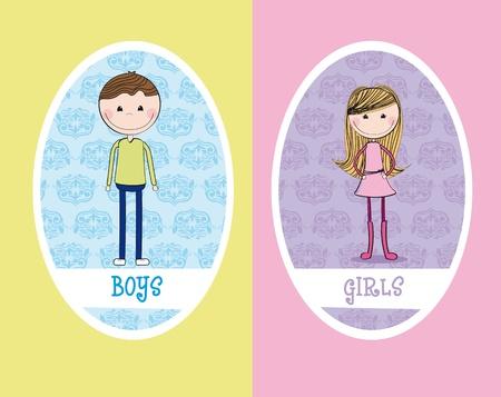 wc: Mädchen und Jungen Kreises Zeichen Toilette. Abbildung