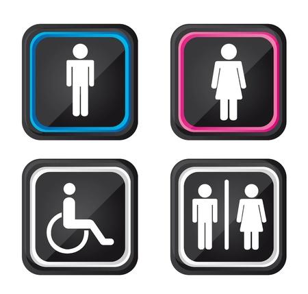 ванная комната: черные мужчины и женщины знак, изолированных на белом фоне. Иллюстрация