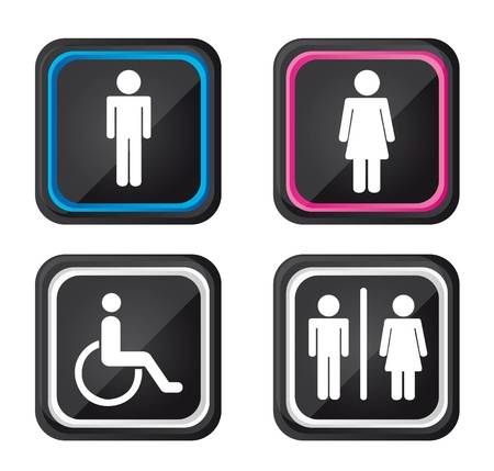 restroom sign: black men and women sign isolated over white background.