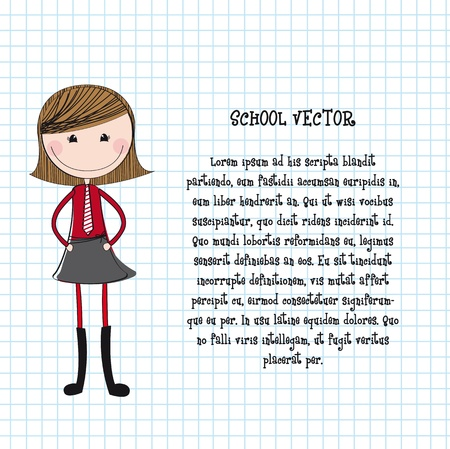cute girl with uniform over notebook texture illustration Vector