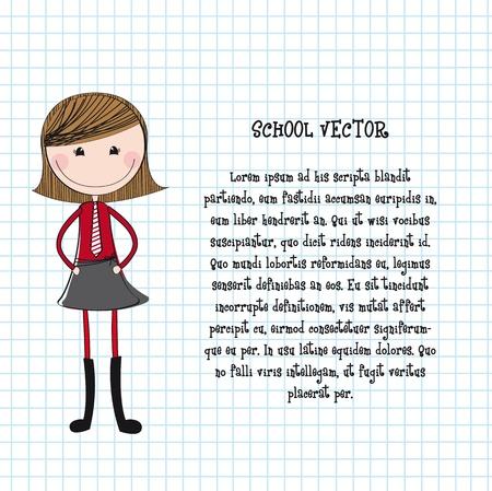 cartoon m�dchen: niedliche M�dchen mit gleichm��ig �ber Notebook Textur illustration