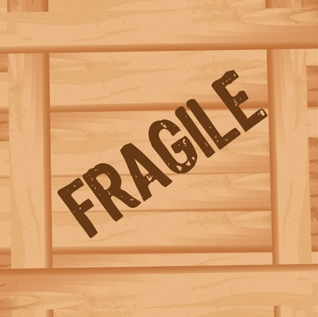 wooden box: wooden box with fragile text,  front position. illustration