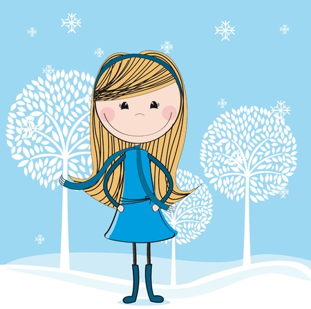 cute girl over winter landscape background. illustration Vector