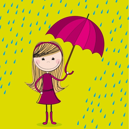 spring coat: cute girl with umbrella, raindrop over green background.