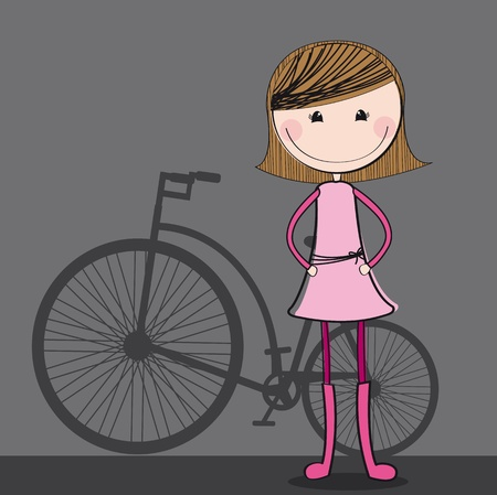 young girls nature: cute girl with bike over gray background. illustration
