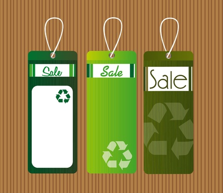 green recycle tags over brown background. illustration