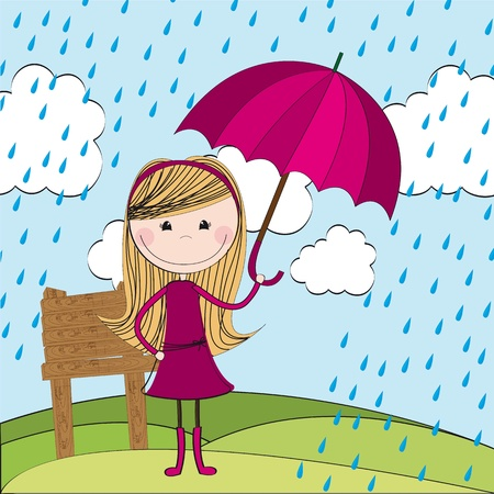 spring coat: cute girl with umbrella and raindrops over landcape.