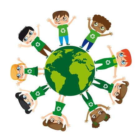 children over planet isolated over white background, recycle.  Vector