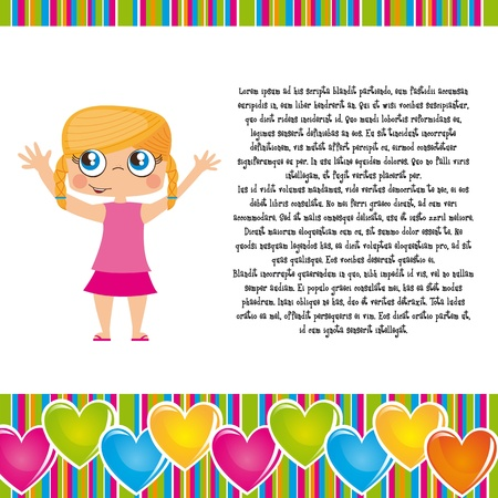 cute girl with copy space and  hearts frame. illustration Vector