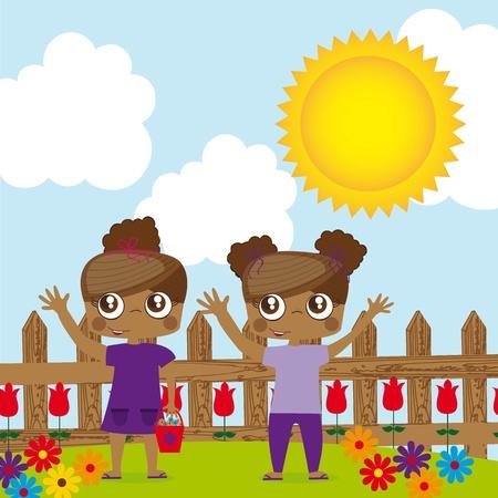 girl children twins over garden. illustration Stock Vector - 12337741