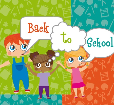 retour: kinderen met al bellen, terug naar school. illustratie