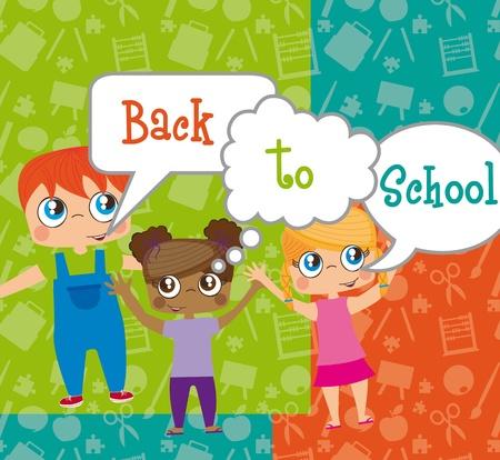 schulklasse: obwohl Kinder mit Blasen, back to school. Abbildung Illustration