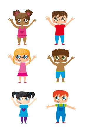 european community: cute children isolated over white backgkround. illustration