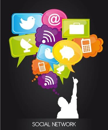 trabajo social: los hombres con burbuja de pensamiento con el signo de la red social. Vectores