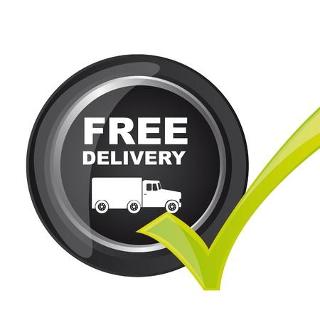 bouton livraison gratuite avec une coche. illustration