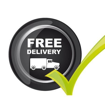 package delivery: free delivery button with check mark. illustration
