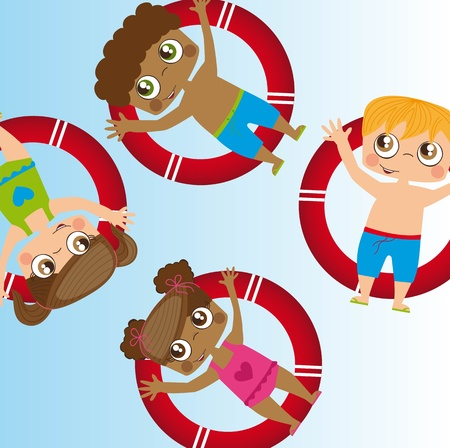 Children on floats in the water, illustration Vector