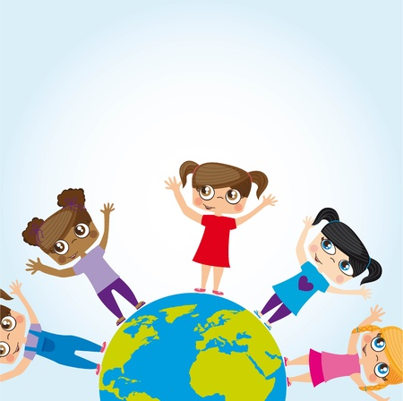 Girls around the world, conceptual image Stock Vector - 12337719