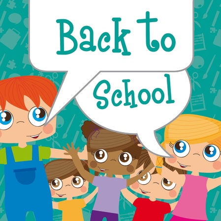 Back to scholl children background, illustration Vector