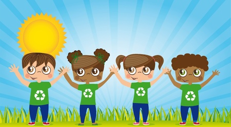 Ecological children with recycling symbols, illustration Vector