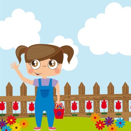hand holding flower: Illustration of girl on garden