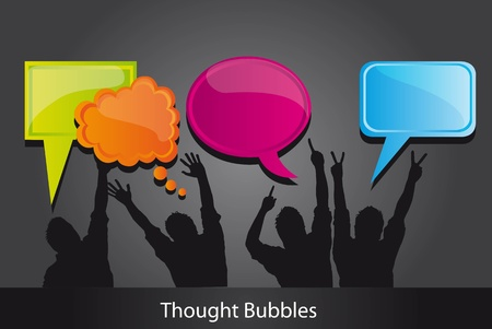 Thought bubbles and men silhouettes, illustration Vector