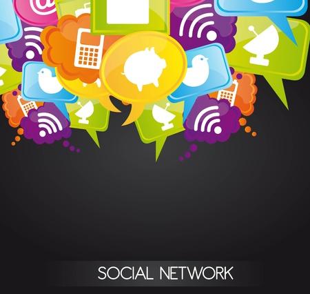 interaccion social: Iconos de redes sociales en colores burbujas, ilustraci�n Vectores