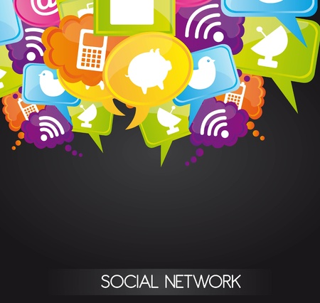 social work: Social network icons on bubbles colors, illustration