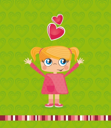 Cute girl with hearts on green background, illustration Stock Vector - 12337673