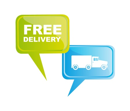 Free delivery and truck icon on bubbles, illustration Vector