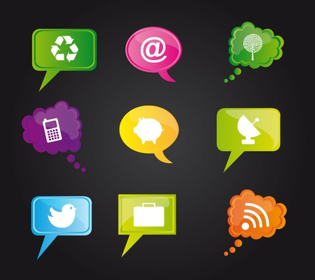 Icons on colors bubbles over black background, Illustration Vector