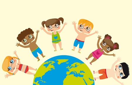 Girls and boys around the world, conceptual image  Vector