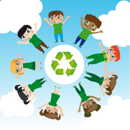 Girls and boys with recycle logo around the world, Illustration Vector
