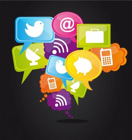 interaccion social: Los iconos de la tecnolog�a en las burbujas de colores, el concepto de la nube