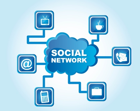 Social networks icons on blue background, Illustration Stock Vector - 12337687