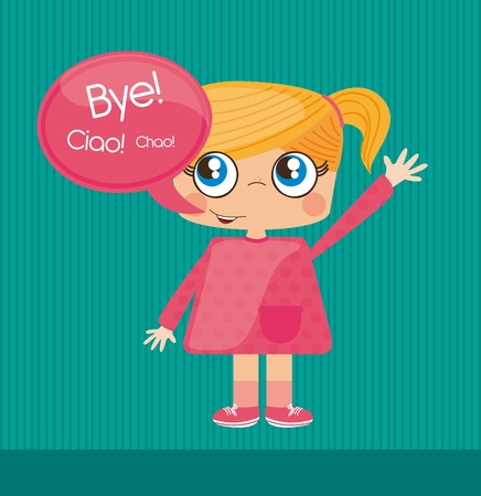 Girl saying bye, cool, bubble to insert text, Illustration Stock Vector - 12337681