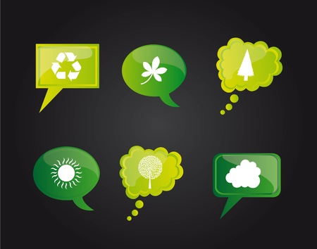 Go green icons on bubbles on black background, Illustration Vector