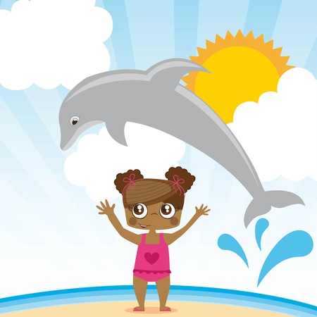 dolphin jumping a girl, summer ilustration, Illustration Vector
