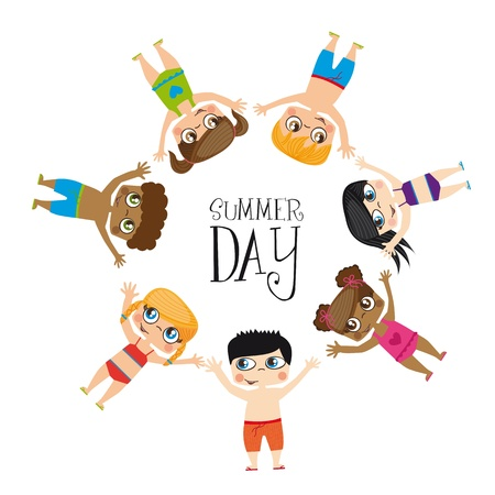 Girls draw on summer day image, Illustration Vector