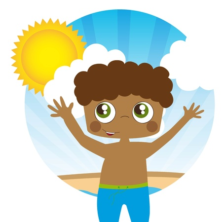 young boy in pool: Boy on summer background, sun and clouds, Illustration Illustration
