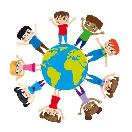 kids holding hands: Boys and girls around the world, Illustration Illustration