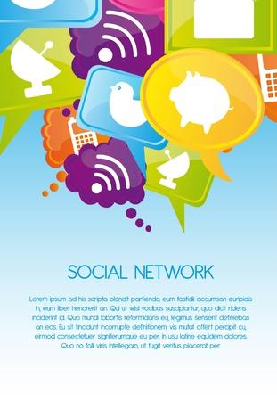 interaccion social: Iconos de redes sociales en los colores, Ilustraci�n