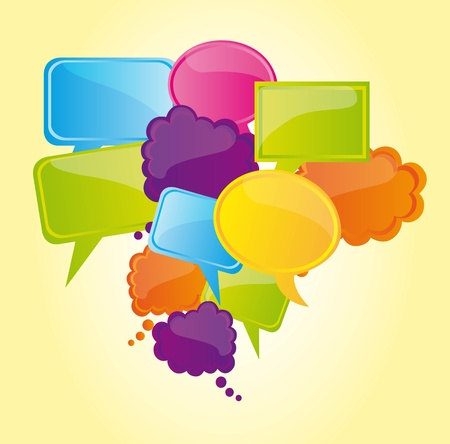 dialog balloon: Blue green and yellow bubbles, Illustration Illustration
