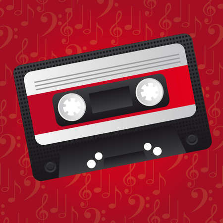 cassette tape: cassette over red music background. illustration