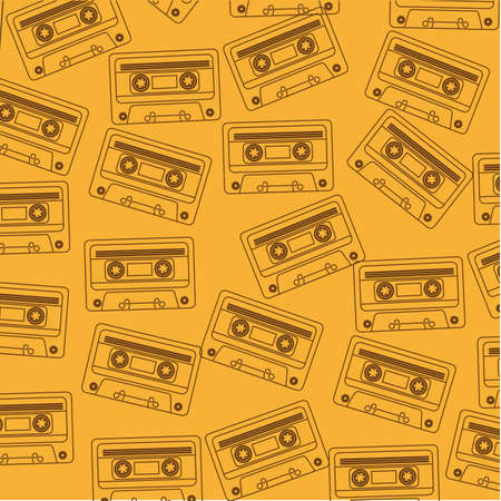cassette tape: brown silhouette cassette over yellow background.  Illustration